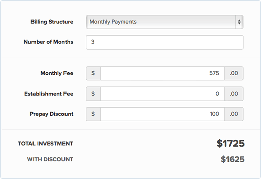 Agreement billing schedules screenshot